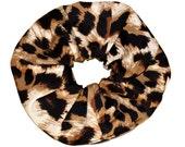 Leopard Scrunchie/ jersey knit Scrunchie/ Black Scrunchie /Handmade Scrunchie /Gift Under 10