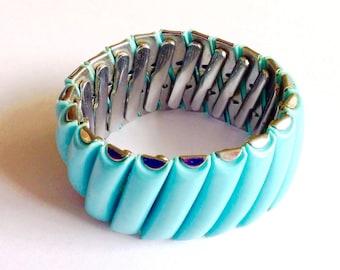 RESERVED FPR VICKI Vintage Plastic Lucite Turquoise Expansion Statement Bracelet Retro Mod Hipster Jewelry