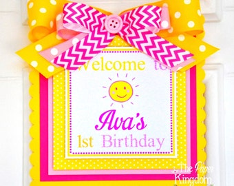 You are my Sunshine Door Sign, Welcome Door Hanger, You are my Sunshine Birthday Party