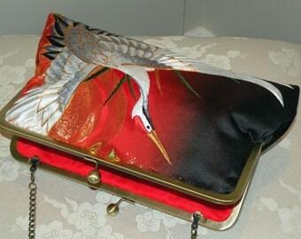 10inch Wedding/Bridal Silk Kimono Bag/Purse/Clutch..Long Island Bride Gift.Embroidered Crane/Red/Gold/Ivory/Black..Cherry Blossom/Wrap/Shawl