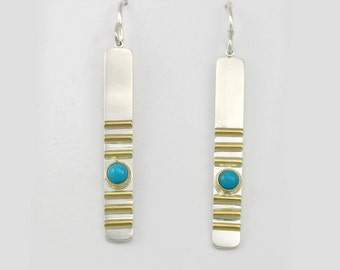 1 Stone w-6 Lines Earring 14K (Turquoise)