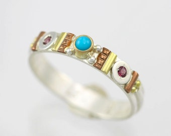 Totem Solitaire Ring, Sm. (Turquoise, Rhodolite Garnet) 14KY, SS, Copper (Made to Order)