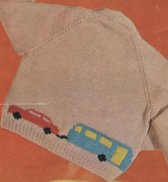 PDF Knitting Pattern / Cars Trucks Dogs motifs baby cardigans / 8 ply yarn / ...