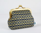 Metal frame change purse - Skyscraper in navy - Deep mum / Charleston inspiration / Metallic gold print / geometric retro / modern