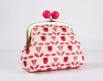 Clutch purse with metal frame - Blooms in pink - Color bobble purse / Exclusive Ellen Baker's new collection / Moonochrome / geometric