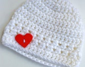 Newborn girl 0-3 months baby hat beanie white red heart boy infant hat baby photo prop Ready To Ship