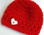 Newborn girl 0-3 months baby hat beanie red white heart boy infant hat baby photo prop Ready To Ship