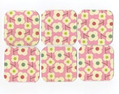 Glittered Posies on Pink Mini Note Cards (6) 2x2 (MN19) Gift Tags