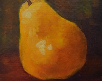 Small Yellow Pear Painting, Food Art Still Life, Original Oil Painting by Cheri Wollenberg