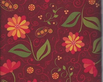 Price Reduced!  Main Floral in Red (ABEL878-D) - BTY - P&B Textiles