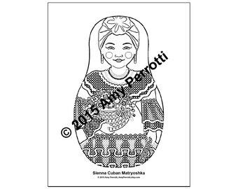 Sienna Cuban Matryoshka Coloring Sheet Printable file