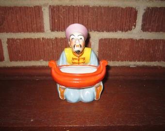 Vintage Unusual Japanese Porcelain Figural Asian Man Incense Burner