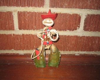Vintage Fun Weird Little Cowpoke Figure Made From Seashells