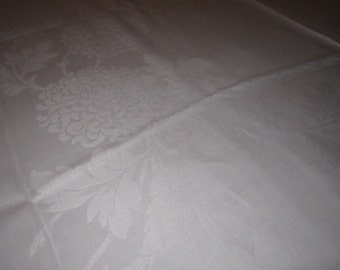 Vintage Beautiful White Irish Linen Damask 68x84 Tablecloth with Chrysanthemum and Morning Glory Floral Design