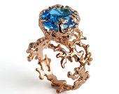 CORAL Blue Topaz Engagement Ring, 14k Rose Gold Engagement Ring, Unique Gold Ring, Gold Gemstone Ring, London Blue Topaz Ring Gold