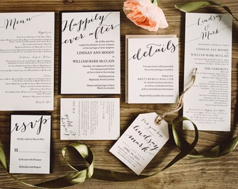 Black and White Letterpress Wedding Invitations with Bold Typography, Black and Ivory Wedding Invitations, Letterpress Wedding Invitations