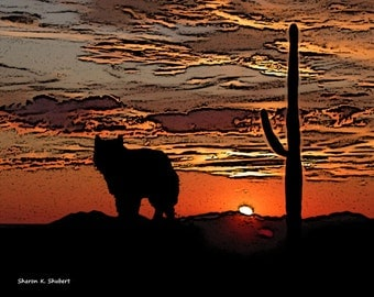 Wolf Art, Chihuahuan Desert, Southwestern Sunset, West Texas Landscape, Totem Animal, Wolves, Cactus Home Decor, Wall Hanging, Giclee Print
