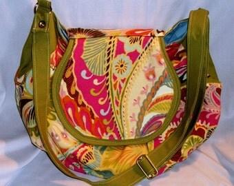 Purse Shoulder Bag Crossbody Large Bag Flap Pastel Print Colorful Slouchy Adjustable Strap Pockets