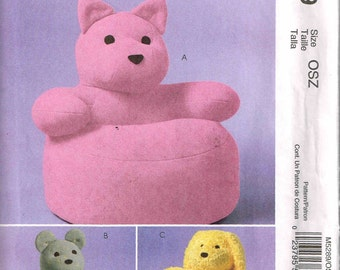 Toddler Animal Chairs Children Playroom Furniture Sewing Pattern McCalls 5289 Puppy Dog, Kitty Cat, Bear Seats