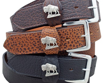 American Buffalo Leather Belt with Buffalo Concho