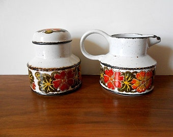 "Midwinter Stonehenge ""Nasturtium"" Flower Creamer and Sugar Bowl Set, Orange, Yellow, Green"