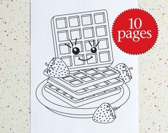 Breakfast Colouring Pages - Downloadable PDF - Printable Coloring Book - Bacon - Eggs - Waffles - Pancakes