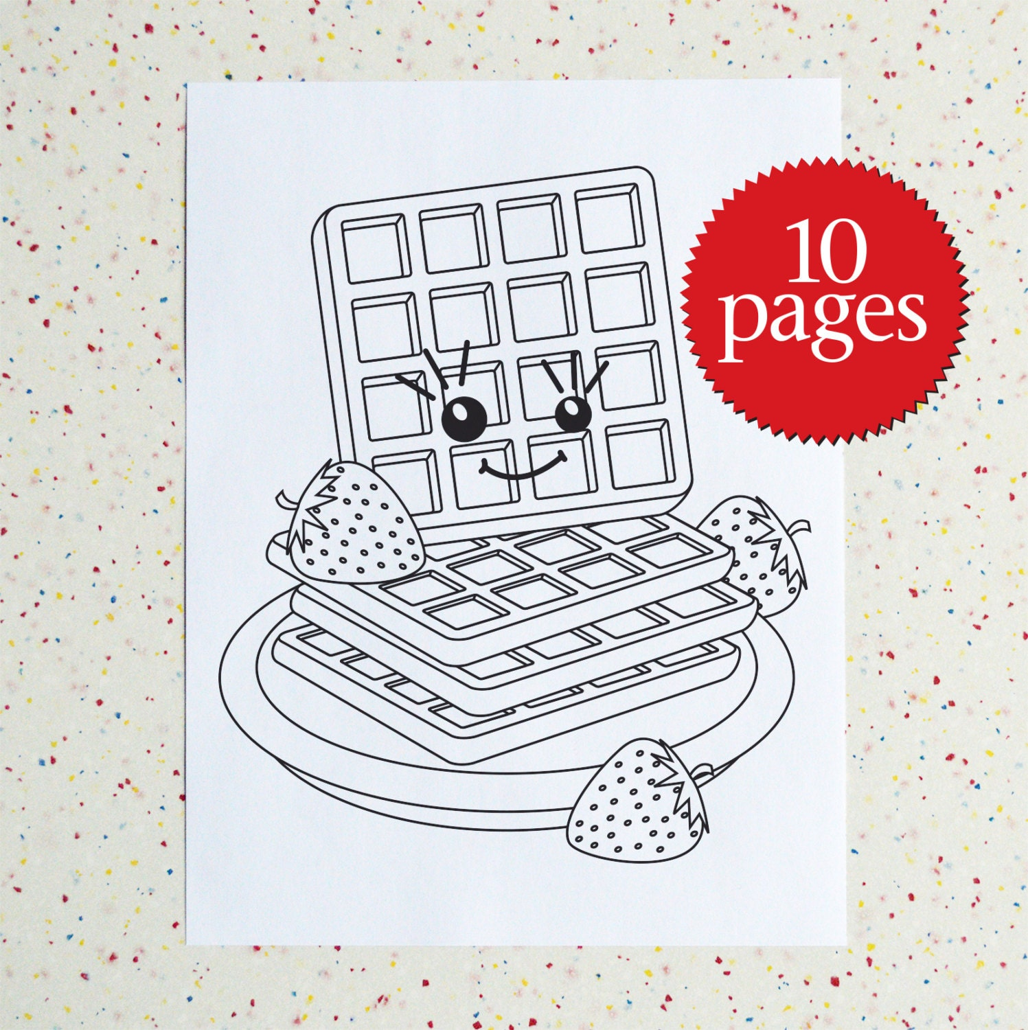 waffle coloring page - breakfast colouring pages downloadable pdf printable