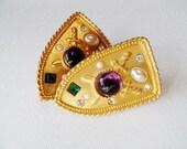 Vintage PARKLANE Earrings Clip On Shield Heraldry Coat of Arms Sword Jewel Gold Statement