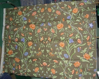 Vintage French Cloth Fabric Sample - Morning Glories, Copyright 1980 by Brunschwig & Fils, Inc. for Mauny, Paris