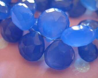 Shop Sale..CHALCEDONY Beads Briolettes, Heart, Luxe AAA, 2 pcs, 9.5-10.5 mm, Periwinkle Cobalt Blue, faceted, weddings brides bridal 1012
