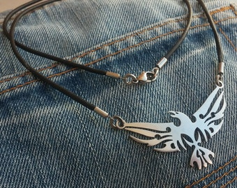 Phoenix - stainless steel pendant on natural leather cord mens or womens tribal art necklace