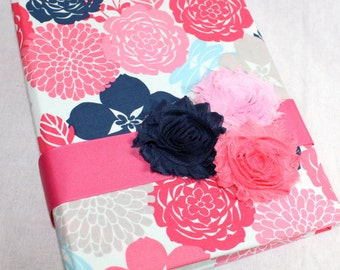 BABY Journal, Baby Memory Book, Milestone Book, Navy and Pink, Navy and Coral Baby Book, Floral Baby Book, Custom Color Schemes available