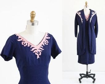 vintage 1950s dress and coat / 50s wiggle dress / Blue and Pink Mad Men Dress and Coat
