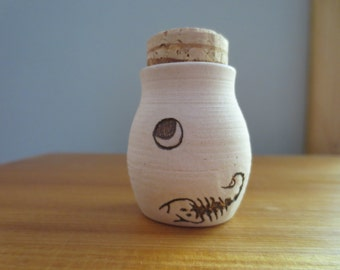 Porcelan Scorpion Bottle with Moon