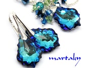 Peacock Jewelry Set Cluster Necklace Earrings Bridal Bermuda Blue Swarovski Crystal Sterling Azure Blue  Wedding Jewelry Royal Blue