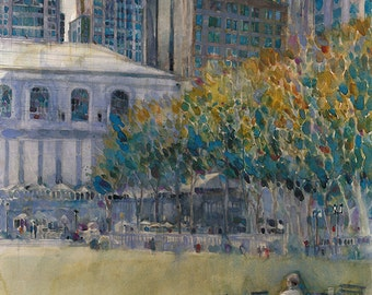 Bryant Park (West 41 Street) Alone Print from Original Watercolor by Dorrie Rifkin Size 8.5 x 11, 11 x 14 or 12 x 18