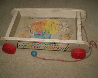 Vintage Fisher price Creative Blocks Wood wagon/ Cart