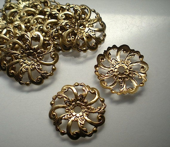 12 Brass Mirror Rosettes No 14