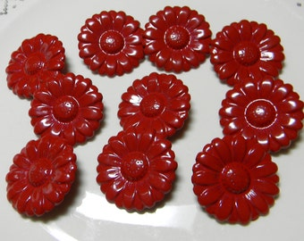 Set of 10 Vintage Old Stock Metal Buttons-Streamline - Red Flowers-Shank Style-Size 44