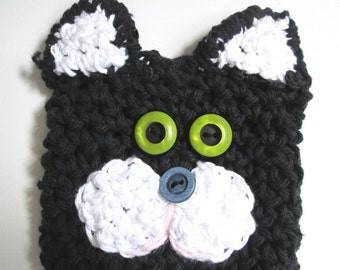 Coffee Cozy Can Sleeve Cat Tuxedo Black White Crocheted Ozzy the Cat Travel Cup Included