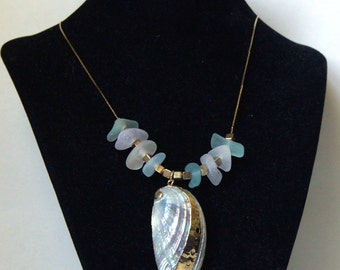 Sea Glass and Abalone Shell Necklace