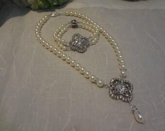 Pearl Necklace Bracelet Swarovski Bridal Jewelry set, Pearl Wedding Necklace, Bridal Y Necklace, Vintage Style,Wedding Jewelry