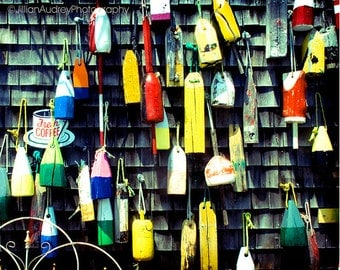 Hanging Buoys Fine Art Photography, nautical wall art, seaside ocean art New England shore, Dark rustic wall decor, colorful