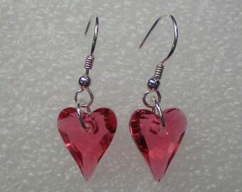 Earrings Swarovski Pink Crystal Hearts