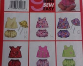 """Butterick 6954 Sewing Pattern, """"9 Sew Fast and Easy"""" Pattern Infants' Babies' Top, Panties and Hat  Size NB, S, M, Baby Sun Hat Pattern"""