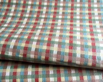 """Vintage Mid Century Laminated Upholstery Fabric - 26"""" X 54"""" Remnant - Outdoor Chair Cushion Recovering DIY - Purse Making - Crafting Fabric"""