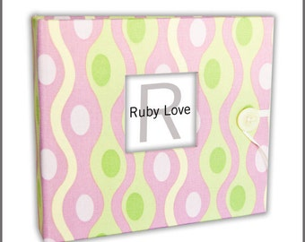 BABY BOOK | Pink and Green Waves Album - Ruby Love Modern Baby Memory Book