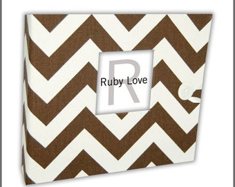 BABY BOOK | Chocolate Brown Chevron Stripe Album - Gender-Neutral Baby Memory Book