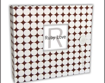 BABY BOOK | Chocolate Brown Dotty Baby Book | Gender-Neutral Baby Memory Book