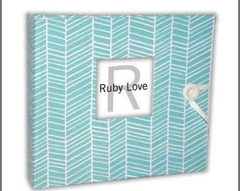 BABY BOOK | Pool Herringbone Stripe Album | Ruby Love Modern Baby Book